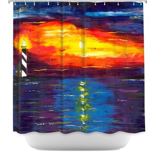 Sunset at Lighthouse Shower Curtain