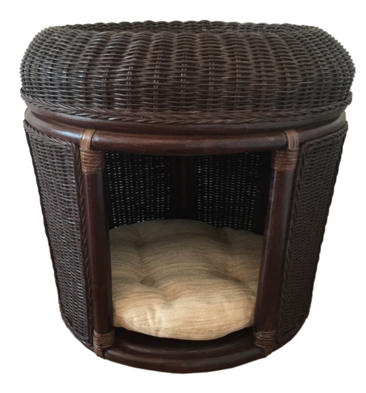 Pets Rattan Wicker House Hooded Dog Bed