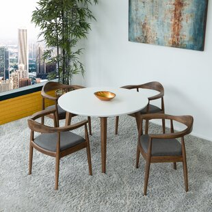 Keown Freya Fabric 5 Piece Solid Wood Dining Set
