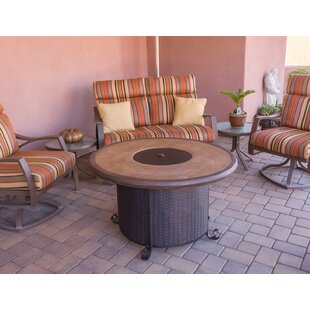 Wicker Steel Propane Fire Pit Table