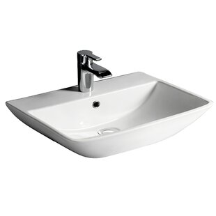 Deals Summit 500 Vitreous China 20 Wall Mount Bathroom Sink with Overflow By Barclay