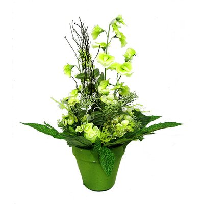 Silk Flower Depot Tall Rose & Sweetpea Floor Plant with Pot in Green