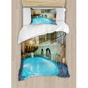 Modern Vivid Swimming Pool in Spa Interior Resort Relaxation Therapy Theme Duvet Cover Set