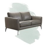 Aaron Genuine Leather 61 Round Arm Loveseat by Foundstone™