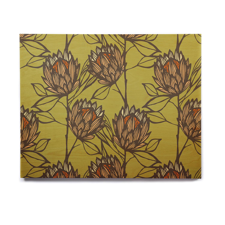 East Urban Home \'Protea Olive\' Graphic Art Print on Wood | Wayfair