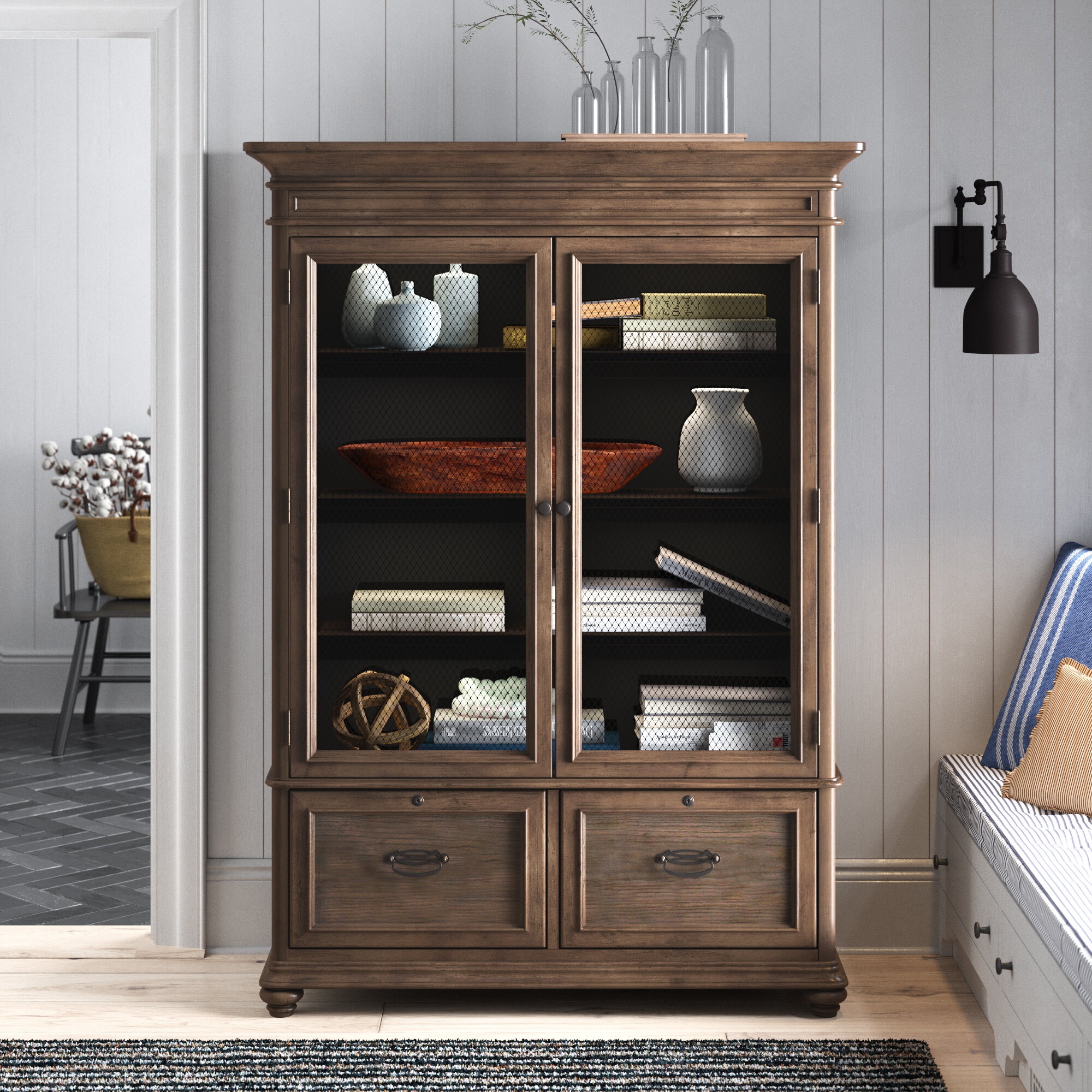 Farmhouse Rustic With Drawers Bookcases Bookshelves