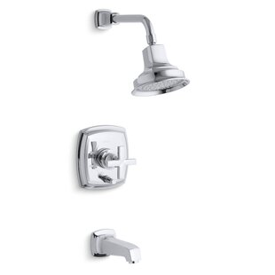 Margaux Rite-Temp Pressure-Balancing Bath and Shower Faucet Trim with Push-Button Diverter and Cross Handle- Valve Not Included