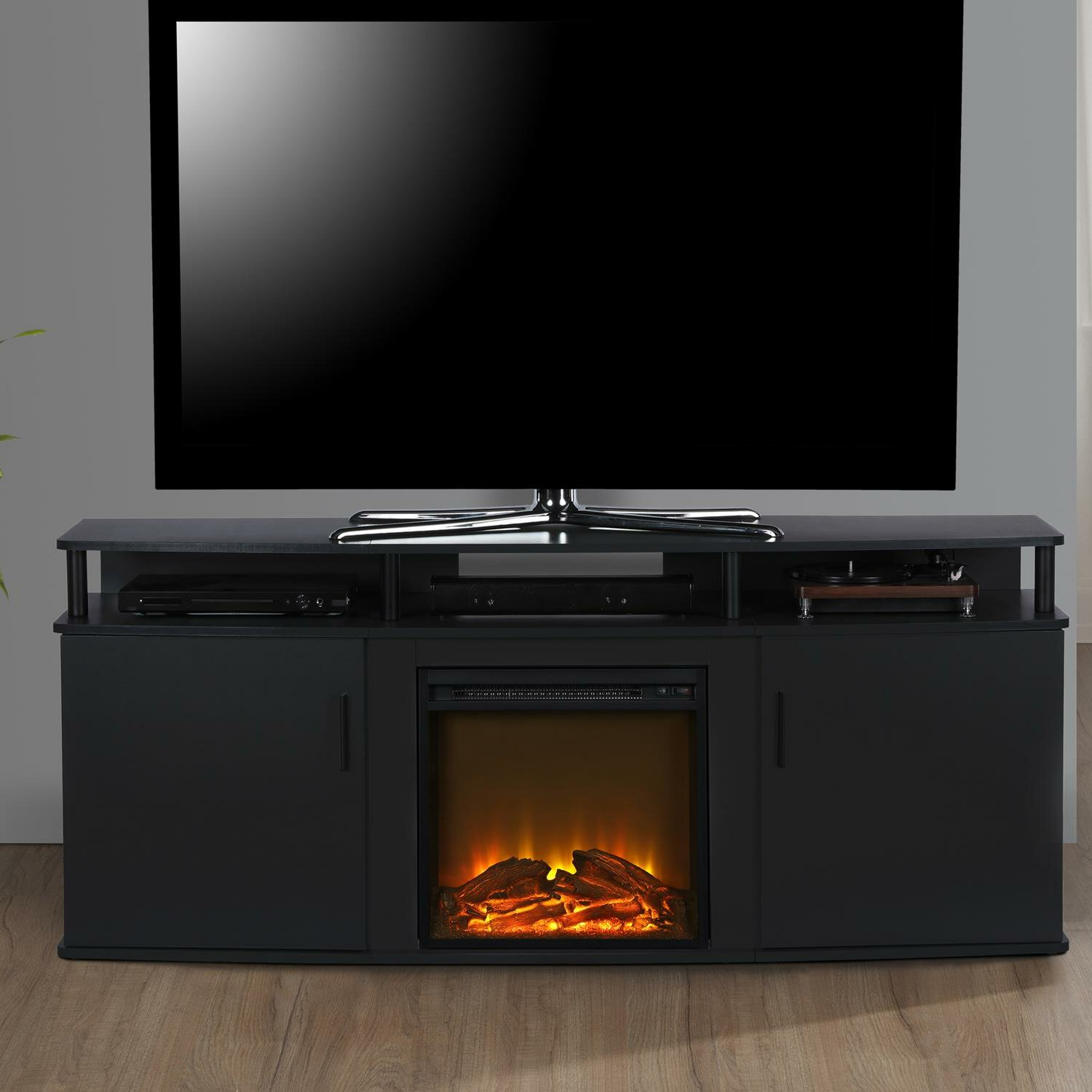 Wade Logan Elian Tv Stand For Tvs Up To 70 With Electic Fireplace Included Reviews Wayfair Ca