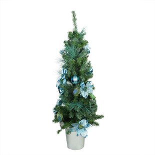 pre decorated peacock blue and silver potted 4 green artificial christmas tree