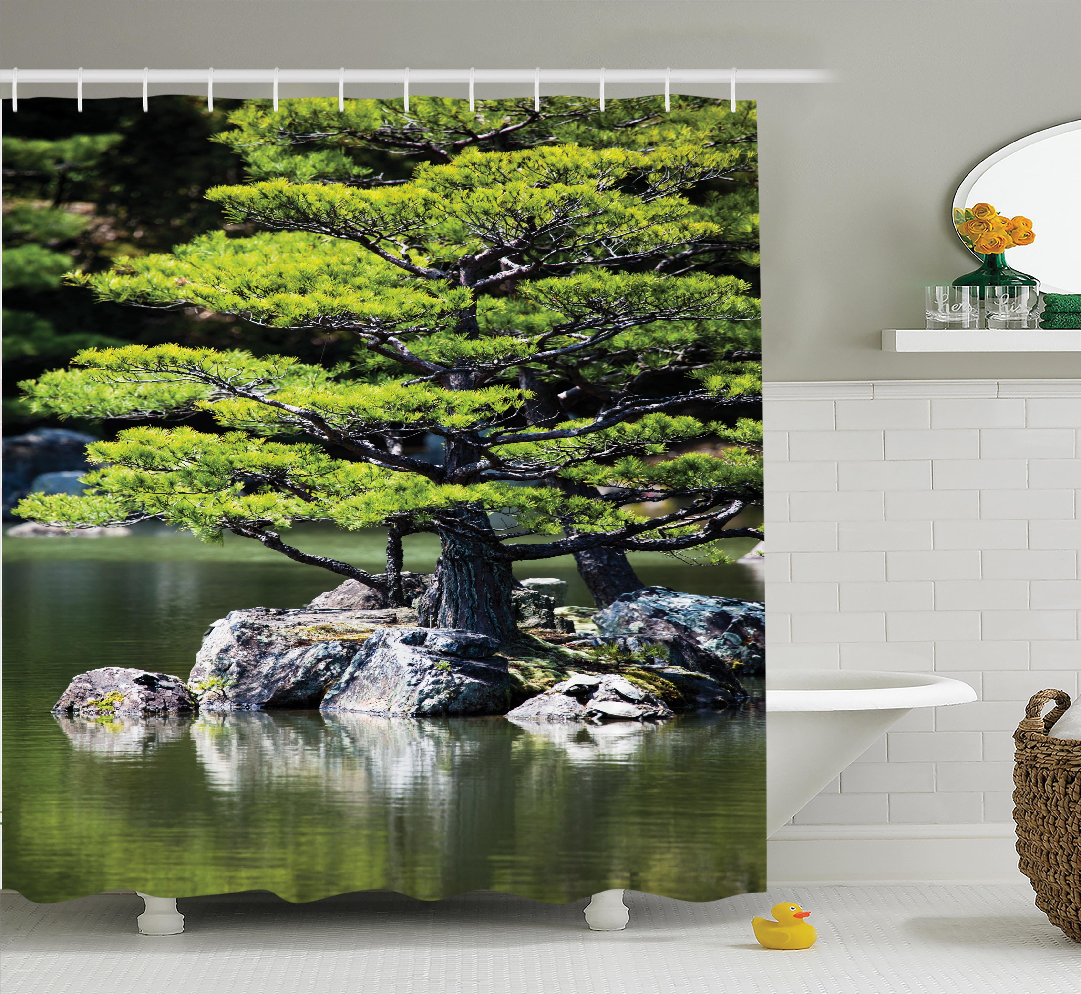 04db0762d5f6 World Menagerie Glenn Pine Tree Lake With Stones Japanese Nature Scenery  With Asia Garden Theme Shower Curtain