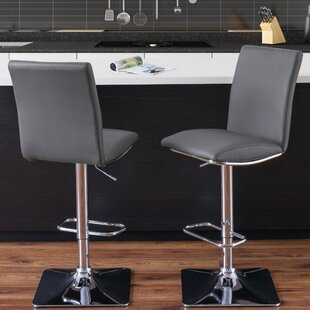 Cribb Adjustable Height Swivel Bar Stool (Set of 2) Orren Ellis