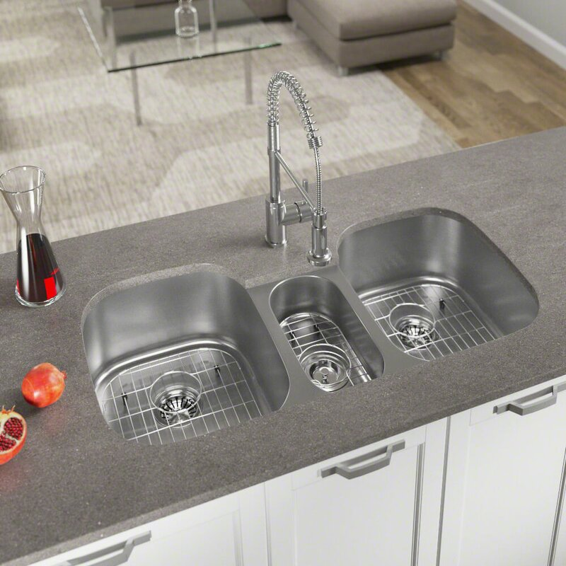 Medium image of stainless steel 43   x 21   triple basin undermount kitchen sink with additional accessories