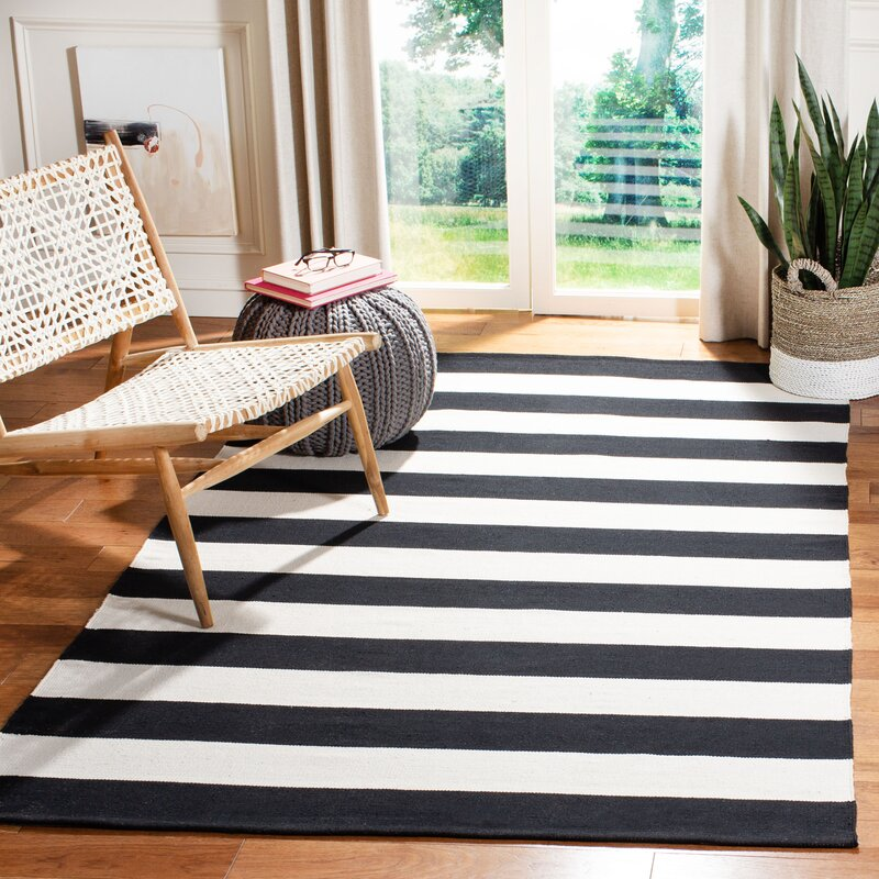 Skyler Striped Handmade Flatweave Cotton Black White Area Rug Reviews Allmodern