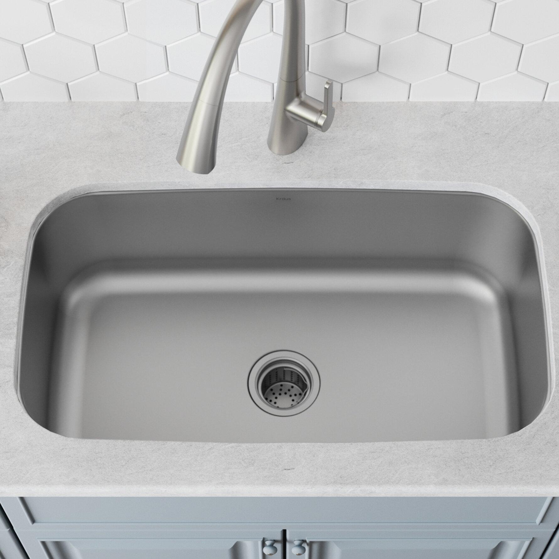 Kbu14 Kraus Stainless Steel 32 L X 19 W Undermount Kitchen Sink With Drain Embly Reviews Wayfair