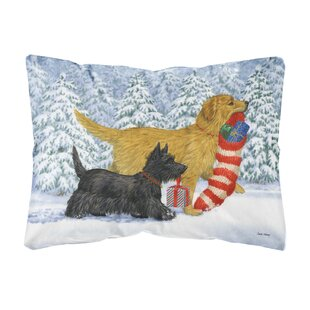 Hawes Golden Retriever Keep Up There, Scottie! Fabric Indoor/Outdoor Throw Pillow