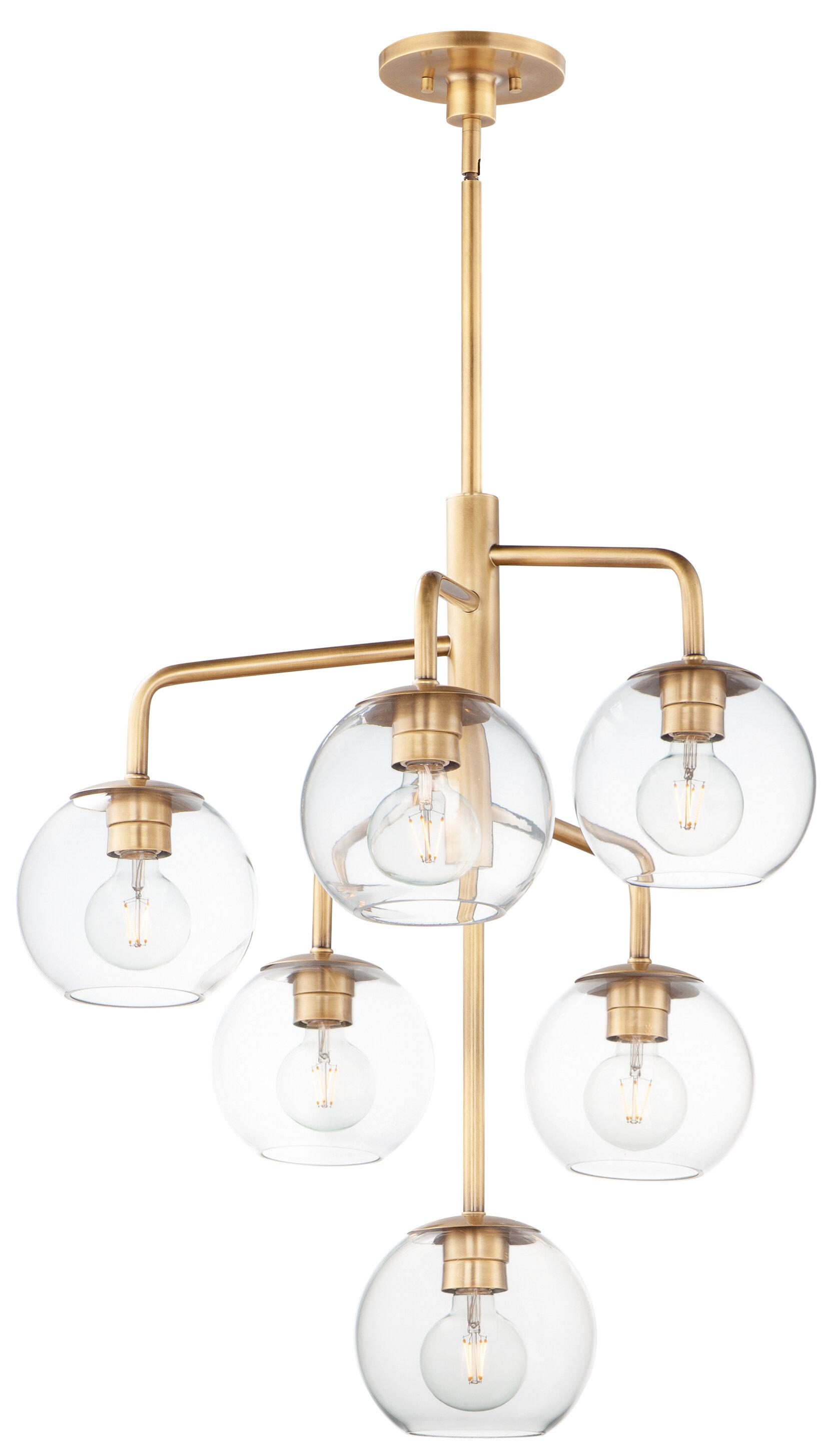 6 Light Shaded Modern Linear Chandelier