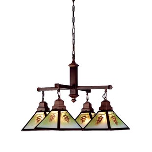 Rustic Northwoods Pinecone 4-Light Shaded Chandelier By Meyda Tiffany