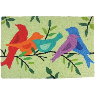 Beauford Morning Song Birds Hand-Tufted Green/Red/Blue Indoor/Outdoor Area Rug