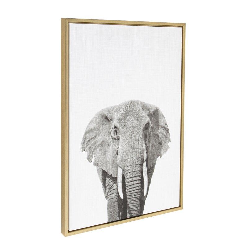 Elephant Animal Print Black and White Portrait\' Framed Photographic ...