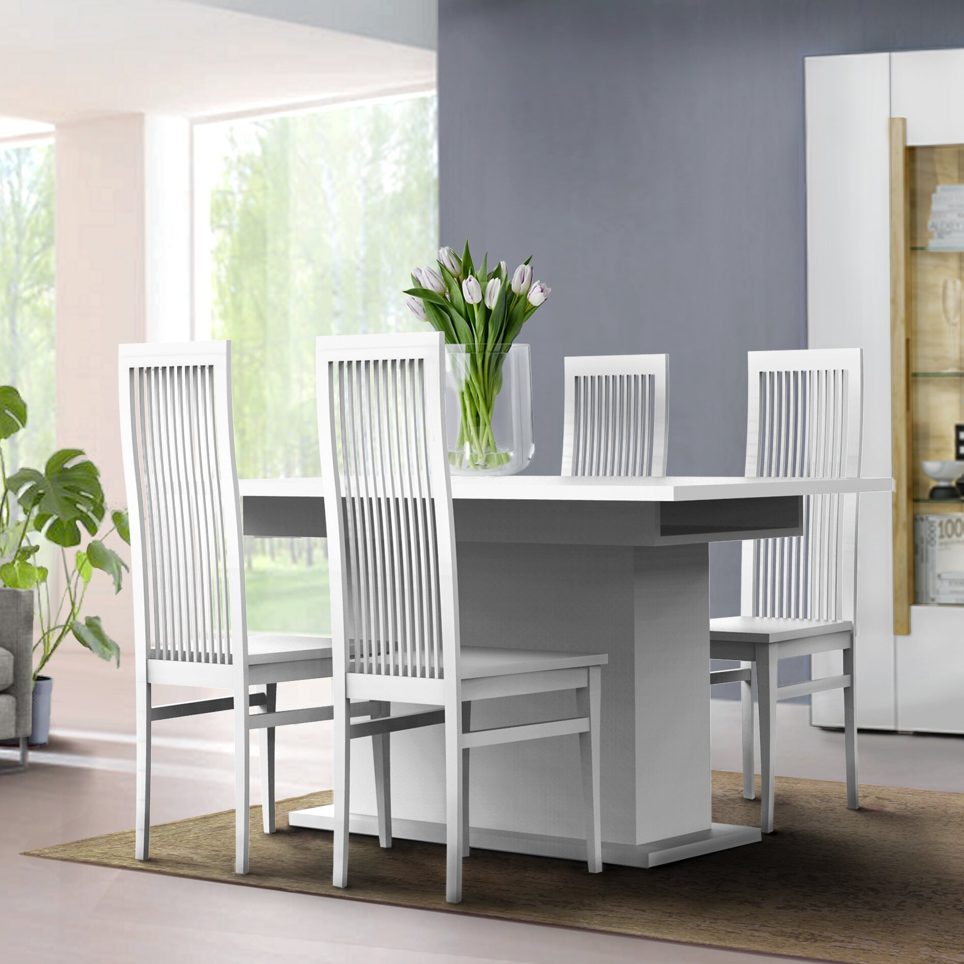 Interdesign Essgruppe Dubai mit ausziehbarem Tisch und 4 Stühlen ...