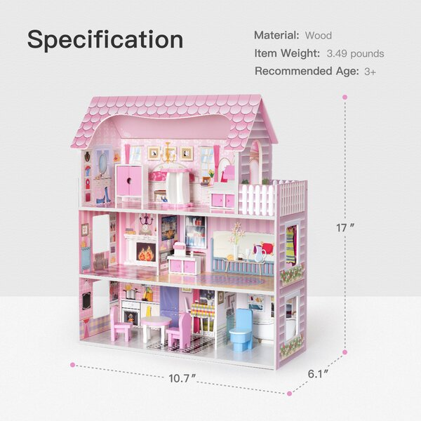 Robotime Wooden Dollhouse With Furniture Pretend Play Doll House Toys For Kids Gift For Girls Wayfair