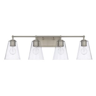 Compare prices Gallego 4-Light Glass Shade Vanity Light By Three Posts