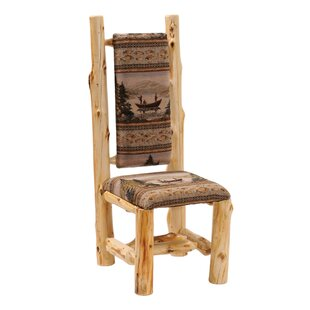 Traditional Cedar Log High Back Side Chair Fireside Lodge
