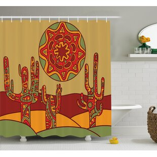 Tucker Cactus Print Cartoon Like Cactus Design With Oriental Indian Tribal Effects Art Image Single Shower Curtain