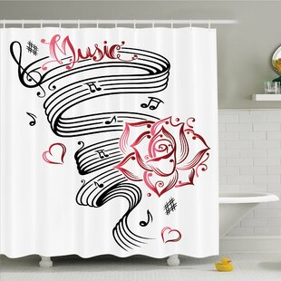 Tattoo Pencil Drawing Romantic Hourglass Symbol of Eternal Love with Roses Shower Curtain Set
