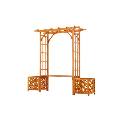 Surprising Sunjoy Wooden Trellis Arch Wood Arbor With Bench And Planter Forskolin Free Trial Chair Design Images Forskolin Free Trialorg