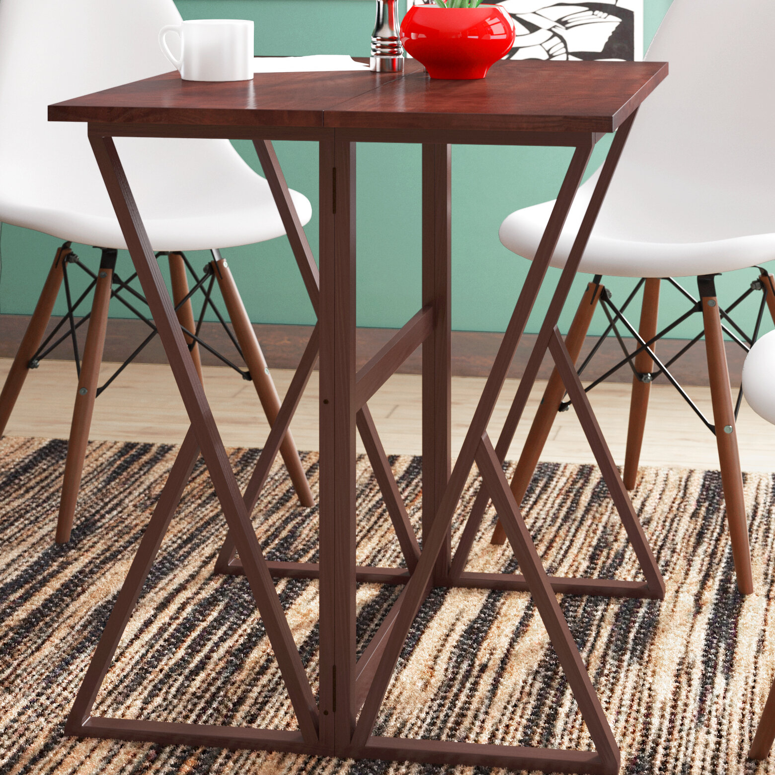 Picture of: Red Barrel Studio Glaser Counter Height Extendable Dining Table Reviews Wayfair