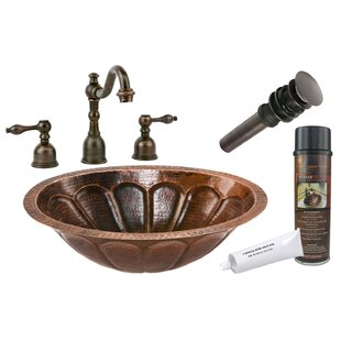 Order Sunburst Metal Oval Undermount Bathroom Sink with Faucet By Premier Copper Products