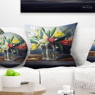 Floral Painting Tulips Pillow