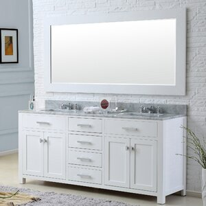 Raven 72″ Double Bathroom Vanity Set with Large Mirror
