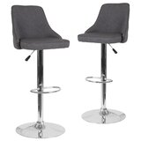 Glencoe Swivel Adjustable Height Bar Stool (Set of 2) by Wrought Studio™