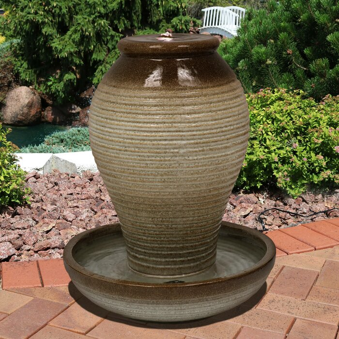 Madalyn Ceramic Pottery Vase Water Outdoor Fountain With Led Light