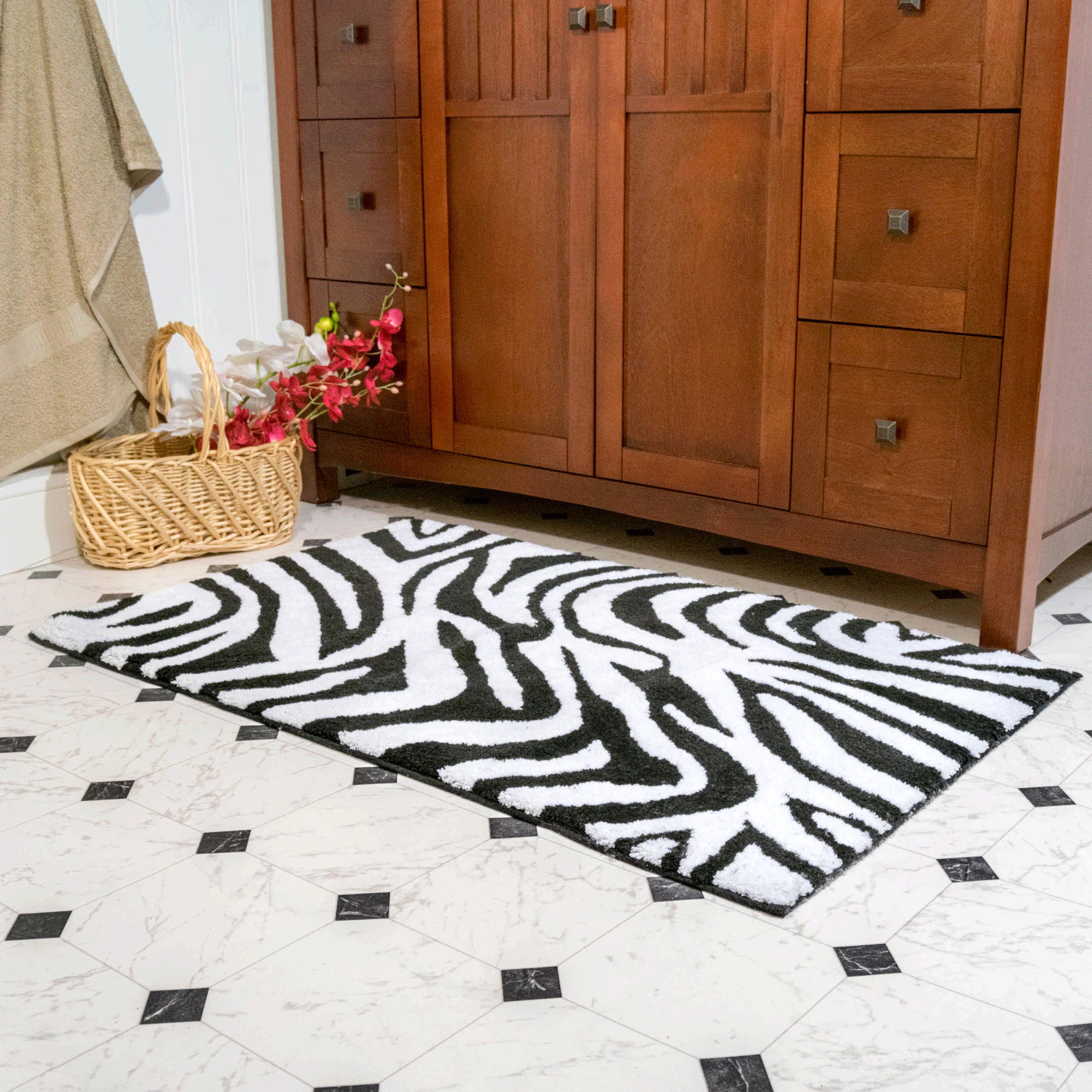 World Menagerie Cheltenham Zebra Contemporary Rectangle 100 Cotton Non Slip Animal Print Piece Bath Rug Set Reviews Wayfair