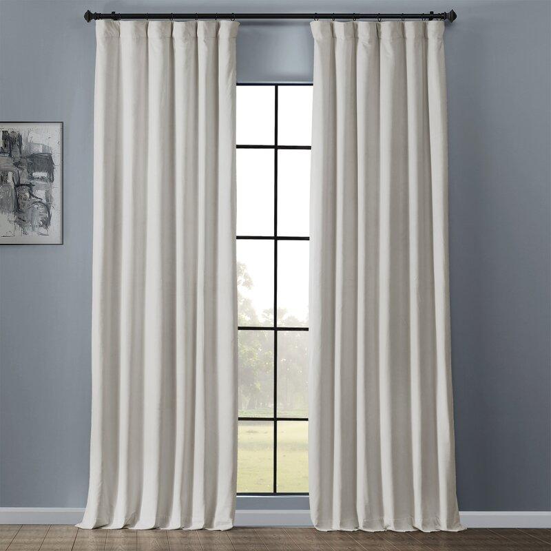 Anrey Velvet Solid Blackout Thermal Rod Pocket Single Curtain Panel Reviews Birch Lane