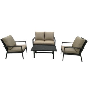 Roberta 4 Piece Rattan Sofa Seating Group with Cushions