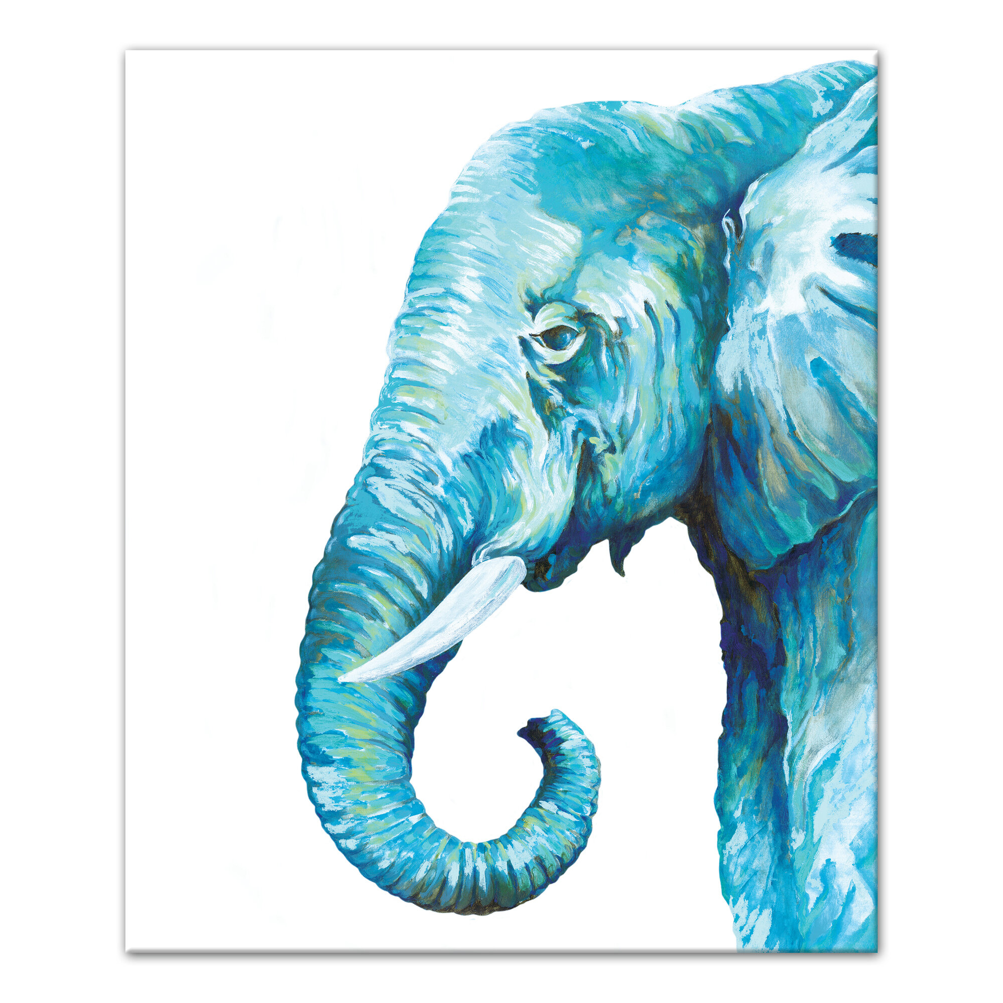 Blue Elephant\' Watercolor Painting Print on Canvas | Joss & Main