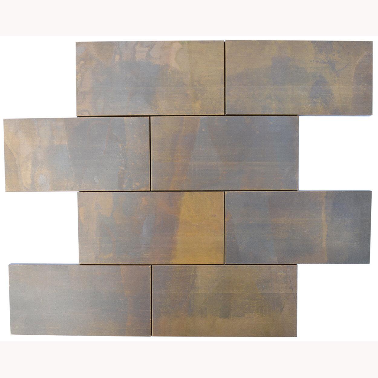 Eden Mosaic Tile Large Brick 3 X 6 Metal Mosaic Tile Wayfair