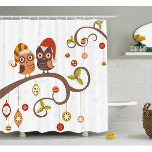 Christmas Noel Owls Folkloric Shower Curtain ByThe Holiday Aisle