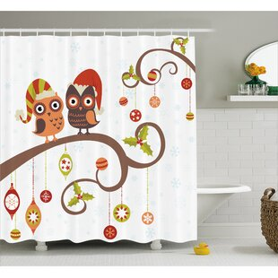 Christmas Noel Owls Folkloric Single Shower Curtain