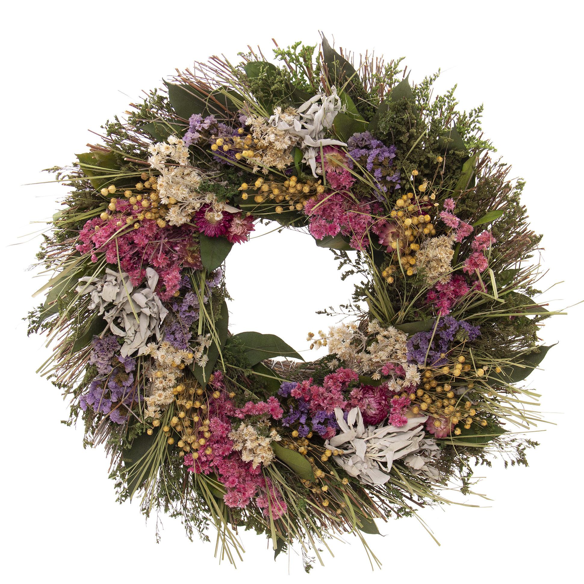 Arlmont Co Fresh Flowers Sage 19 Floral Wreath Reviews Wayfair
