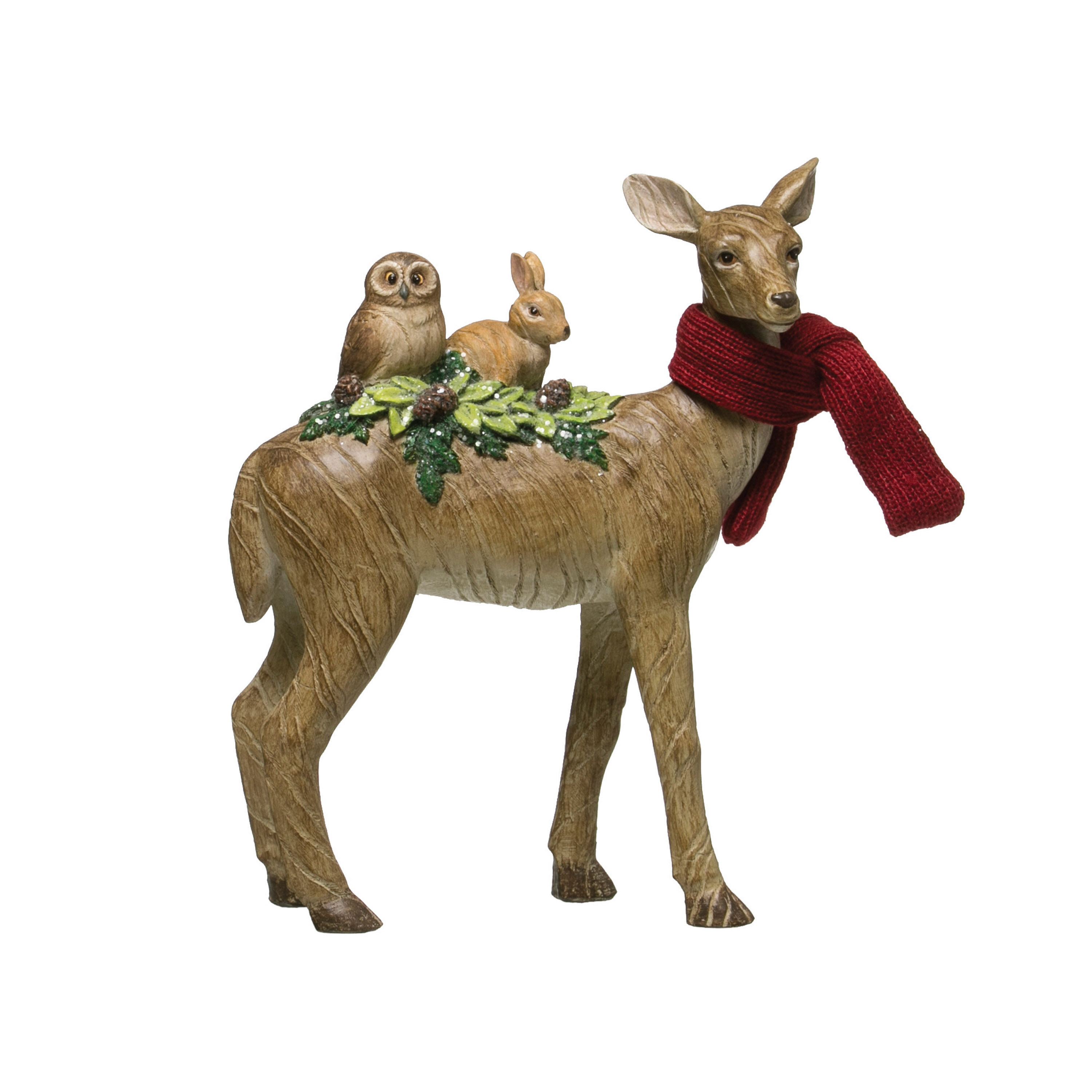 The Holiday Aisle Resin Standing Deer With Crittersand Fabric Scarf Wayfair