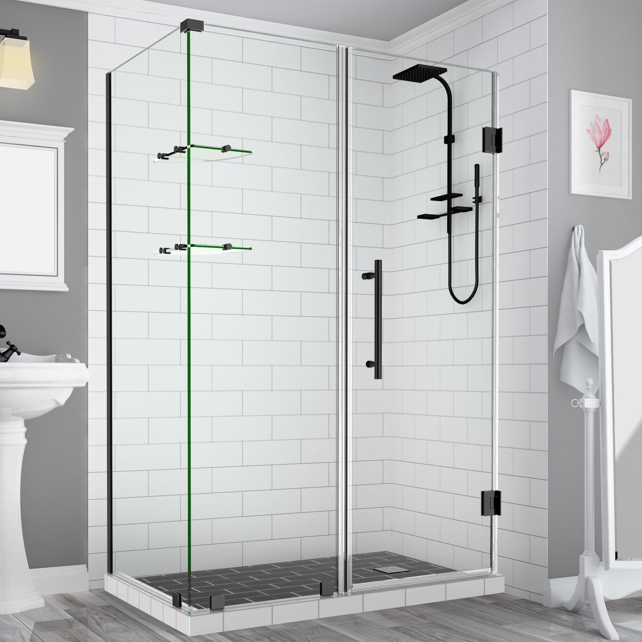 Aston Bromley Gs Frameless 36 38 X 72 Rectangle Hinged Shower Enclosure Wayfair