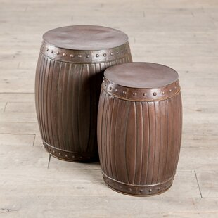 Fluted Barrels 2 Piece End Table Set by ZallZo