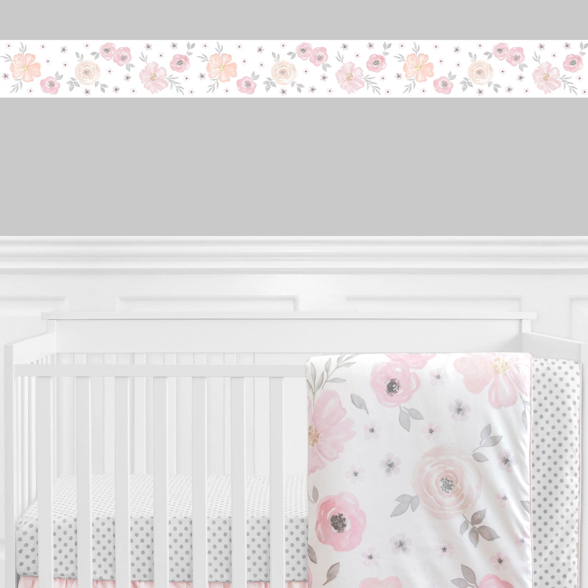 Sweet Jojo Designs Watercolor Floral 15 L X 6 W Smooth Wallpaper