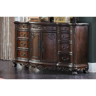 Dorn Traditional Multistorage Carved Wooden 9 Drawer Combo Dresser