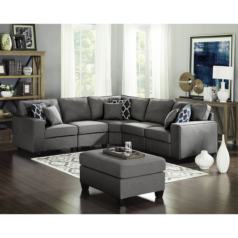 Three Posts Lavery 98 Symmetrical Modular Sectional With Ottoman Reviews Wayfair